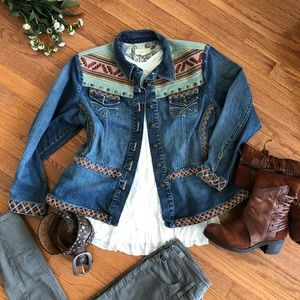 Boho Western Coldwater Creek Denim Jacket